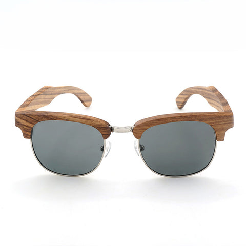 Mens Wood Grain Framed Sunglasses Half Frame