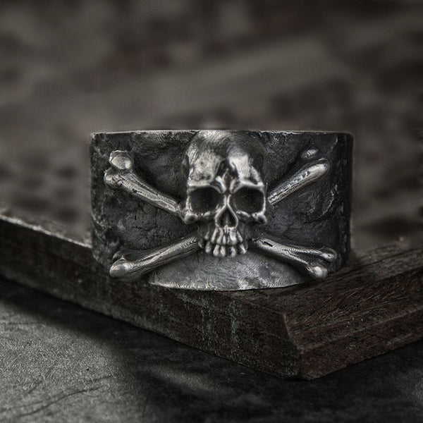 Skull and Cross Bones Steel Cast Ring