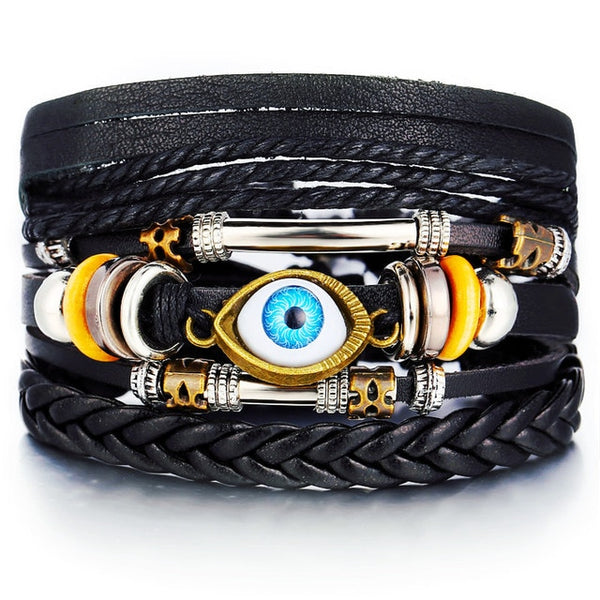 Men's Leather Wrap Wristband Bracelet With Beads