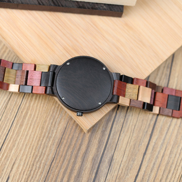 Backside of multi color wood grain watch