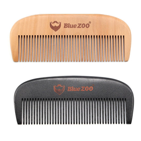 2 Blue Zoo Beard Wooden Beard Combs Black and Natural