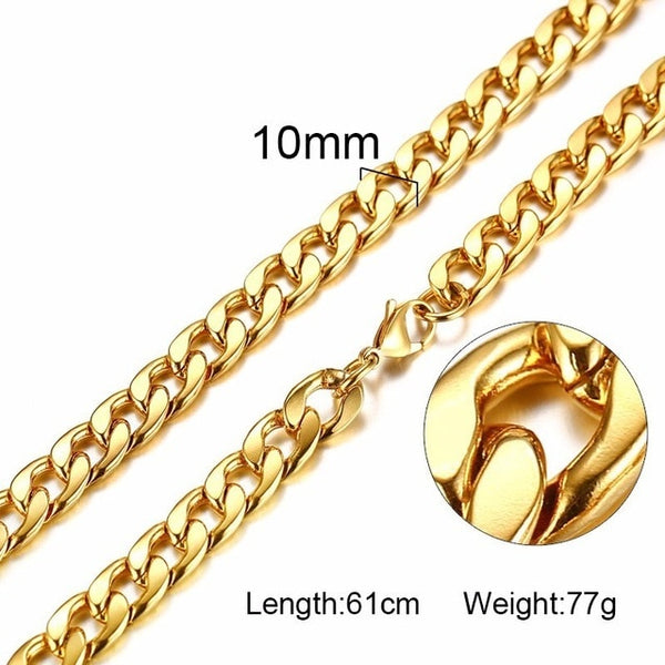Men's Cuban Link Chain Silver and Gold Plated Necklace