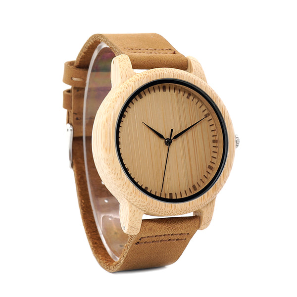 Men's Bamboo Wood Watch With Leather Band