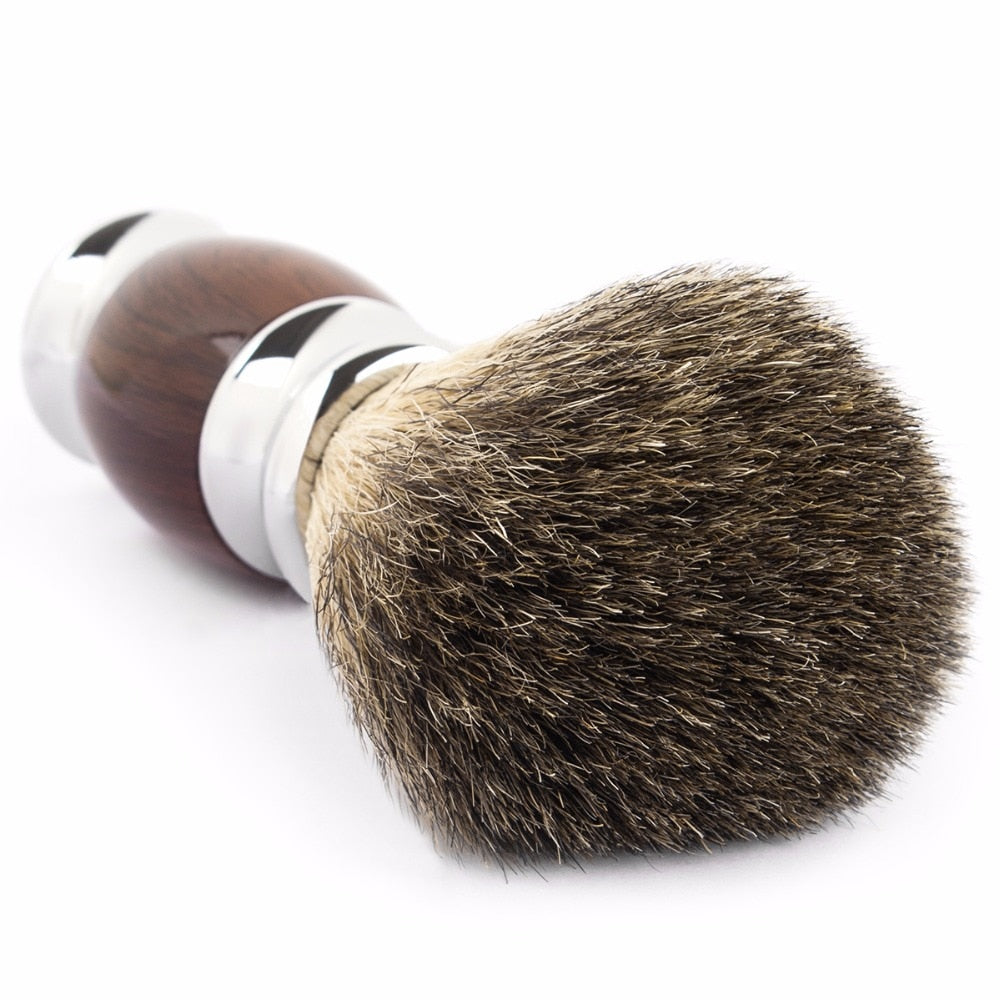 Shaving Brush Wood Grain - Badger Hair Bristles
