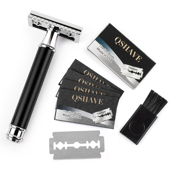 Qshave Black handle Safety Razor