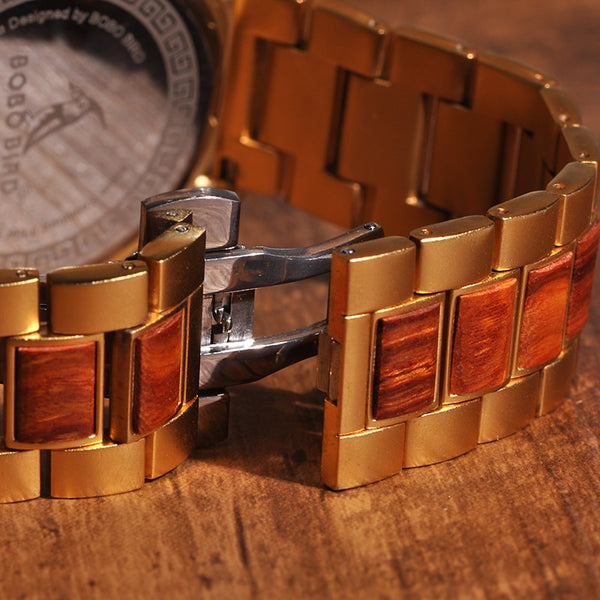 Gold and Wood Grain Watch