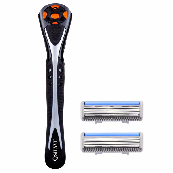Men's Razor System 5 Blade With Swivel Handle With Cartridges - It's Bro Products