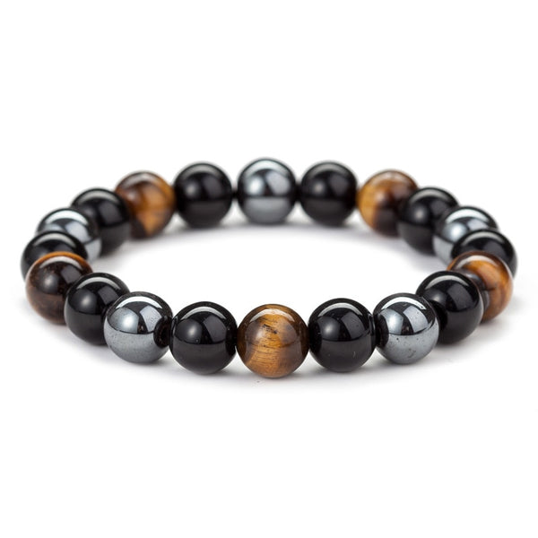 Men's Hematite Beaded Tiger Tiger Eye Natural Black Obsidian Bracelet