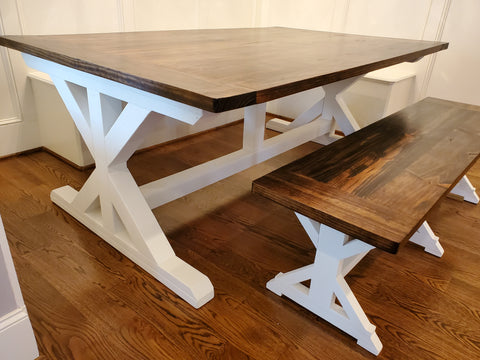 X Farmhouse Table Side with Greek Villa paint