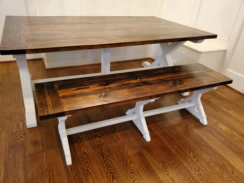 X Farmhouse table Rustic Sherwin Williams Greek Villa