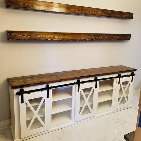 8 foot long Farmhouse Sliding Door Console with Glass Inlay