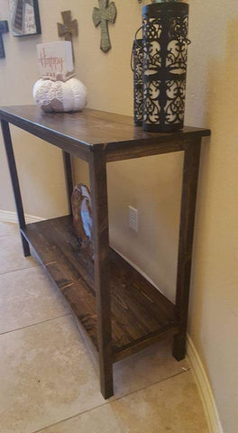 Entryway Table with lower shelf side view