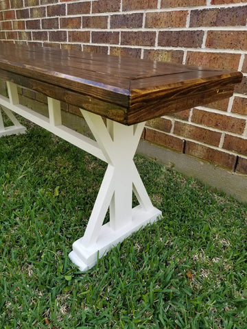 Farmhouse Bench with X Ends