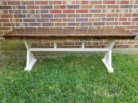 Countertop Farmhouse Bench with X Design