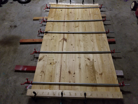 Farmhouse Tabletop being glued and clamped together