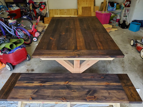 X Farmhouse tabletop stained