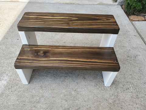Extra wide step stool in dark walnut top and white sides