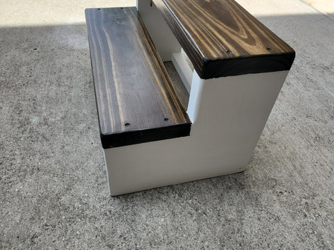 Extra wide step stool with dark walnut top and white sides