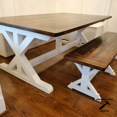 x farmhouse table white legs stained tabletop finished