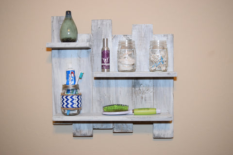 Beach House Wall Rack with Whitewash Finish