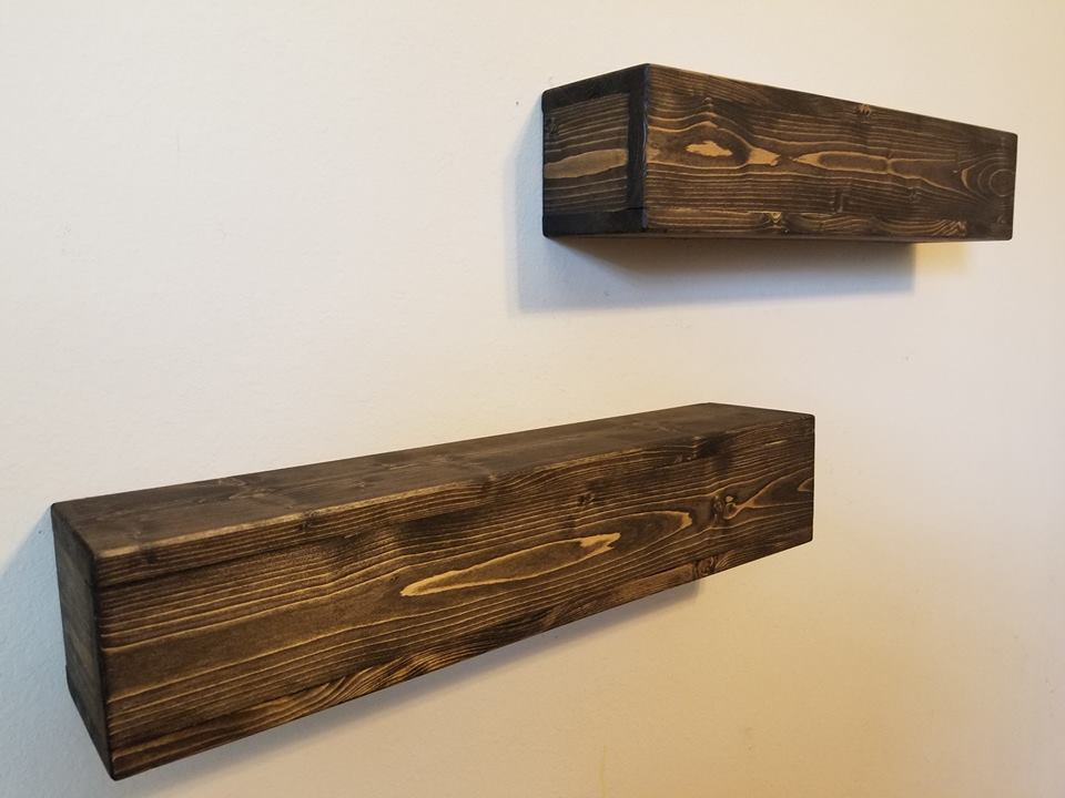Rustic Floating Shelves Mantle - Easily Mounted - Wood - Wall Floating Shelf Shelving