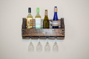 Rustic Wood Wine Wall Rack - Holds 4 Bottles and 4 Glasses - Holder Shelf Storage