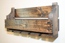 Load image into Gallery viewer, Rustic Wood Wine Wall Rack - Holds 4 Bottles and 4 Glasses - Holder Shelf Storage