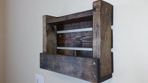Rustic Wood Shelf Organizer Bathroom Magazine Holder Entryway Foyer Red