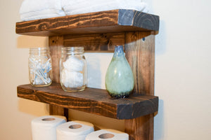 Rustic Wood Wall Shelves Rack - Bathroom Kitchen Entryway Foyer