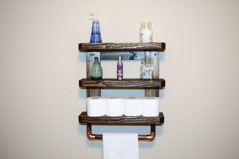 Rustic Wood Wall Shelves with Towel Rod