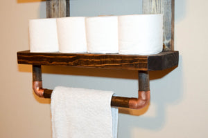 Rustic Wood Wall Shelves Rack Towel - Bathroom Kitchen