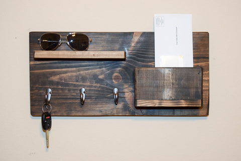Rustic Entryway Wall Organizer - Mail Organizer - Wall key Holder