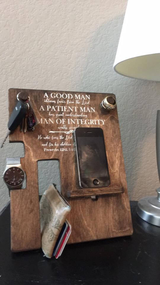 iPhone Samsung Wooden Phone Watch Key Wallet Stand Docking Station for Man