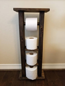 Rustic Wood Toilet Paper Holder Stand with Shelves Multiple Rolls