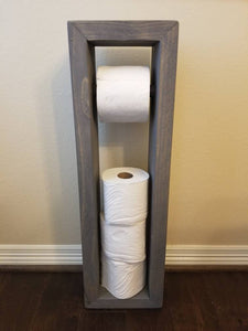 Rustic Toilet Paper Holder Stand Wood Stained Grey