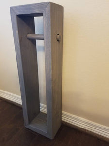 Rustic Toilet Paper Holder Stand Wood Stained Grey Brown