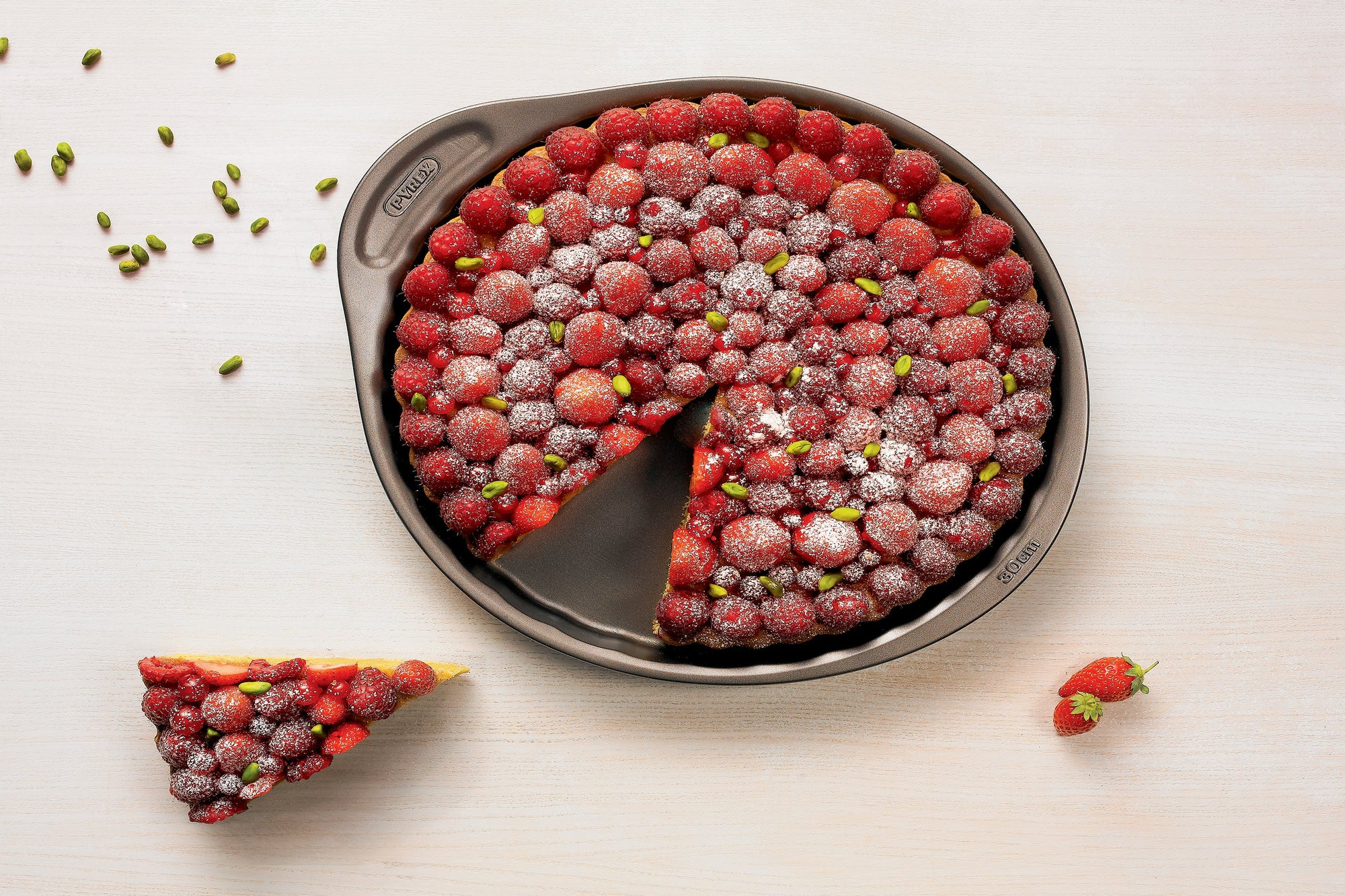 Pistachio and raspberry tart