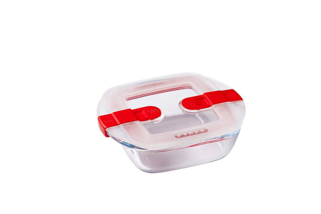 Cook & Heat Square glass food container with patented microwave safe lid