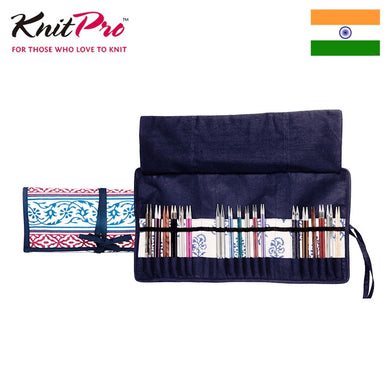 Knitpro Blue Navy Knitting Needle Bag for five types  storage
