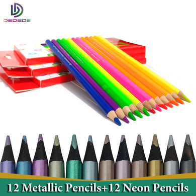Artist Colored Pencils 24 lapis de cor profissional 12pcs Black Wood Metallic Neon Coloured Pencils and Colouring Pencils Set