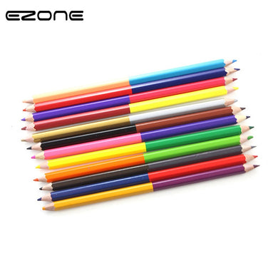 EZONE 12Pcs Double-headed Colored Pencil (24 Colors) Art Set Colour Pencil Kid Drawing Tools School Office Supplies Papelaria