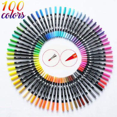 100 Color Dual Brush Art Markers Pen Fine Tip and Brush Tip Great for Bullet Journals Adult Coloring Books Calligraphy Lettering