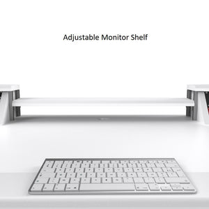 Commander V2 Desk with Keyboard pullout option All White