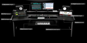 PRO LINE Classic Desk all White & Speaker stands bundle