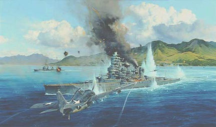 Attack on the Hiei by Robert Taylor - Aviation Art