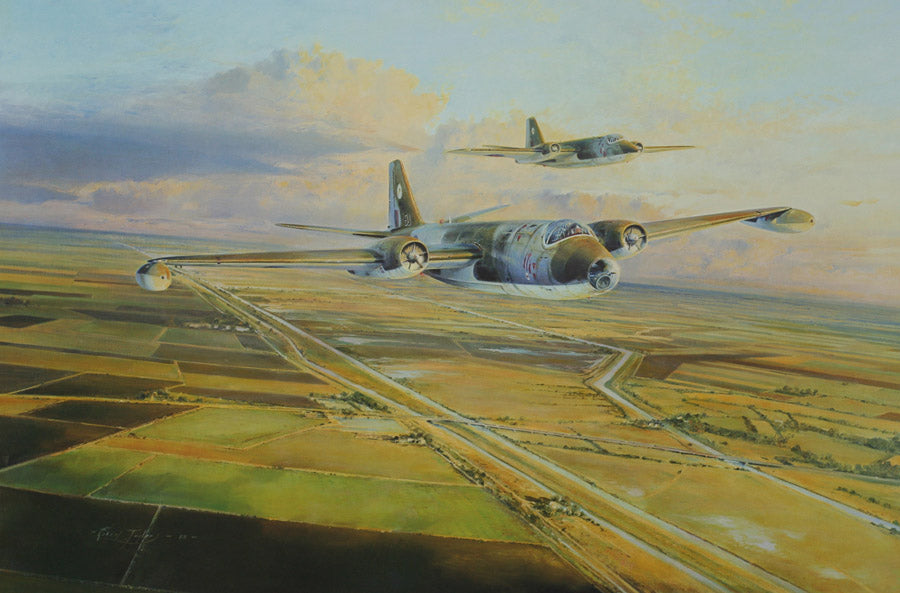 Canberras Over Cambridge - Aviation art by robert Taylor