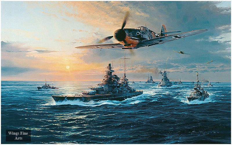 The Channel Dash by Robert Taylor - Aviation Art of Me109