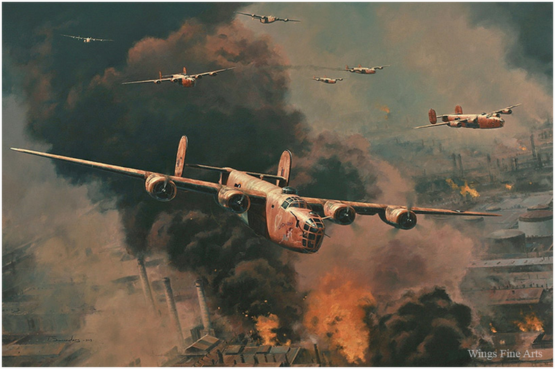 To Hell and Back by Anthony Saunders - B-24 Bomber Aviation Art