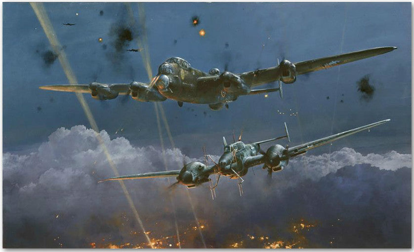 Lancaster Under Attack By Robert Taylor - Aviation Art of the RAF Bomber
