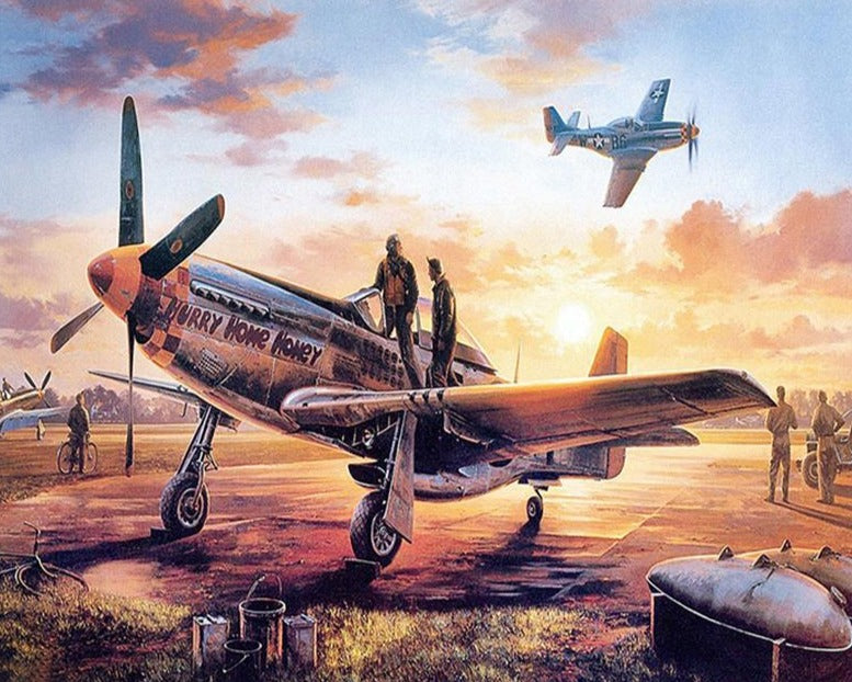 Last Man Home by Nicolas Trudgian -  Aviation Art of P-51